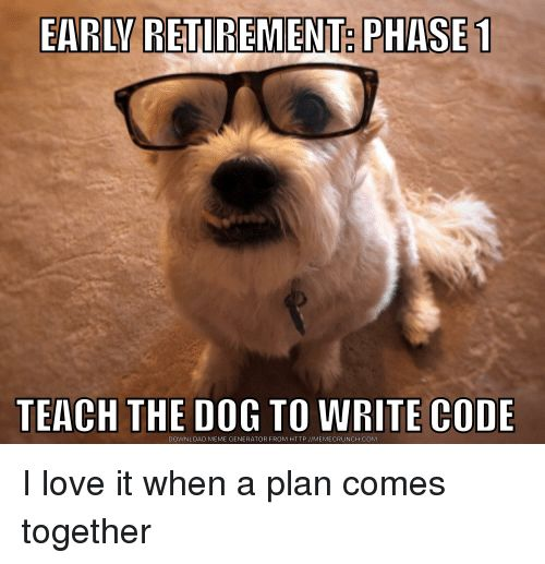 Funny Love and Meme EARLV RETIREMENT PHASE TEACH THE DOG TO WRITE CODE
