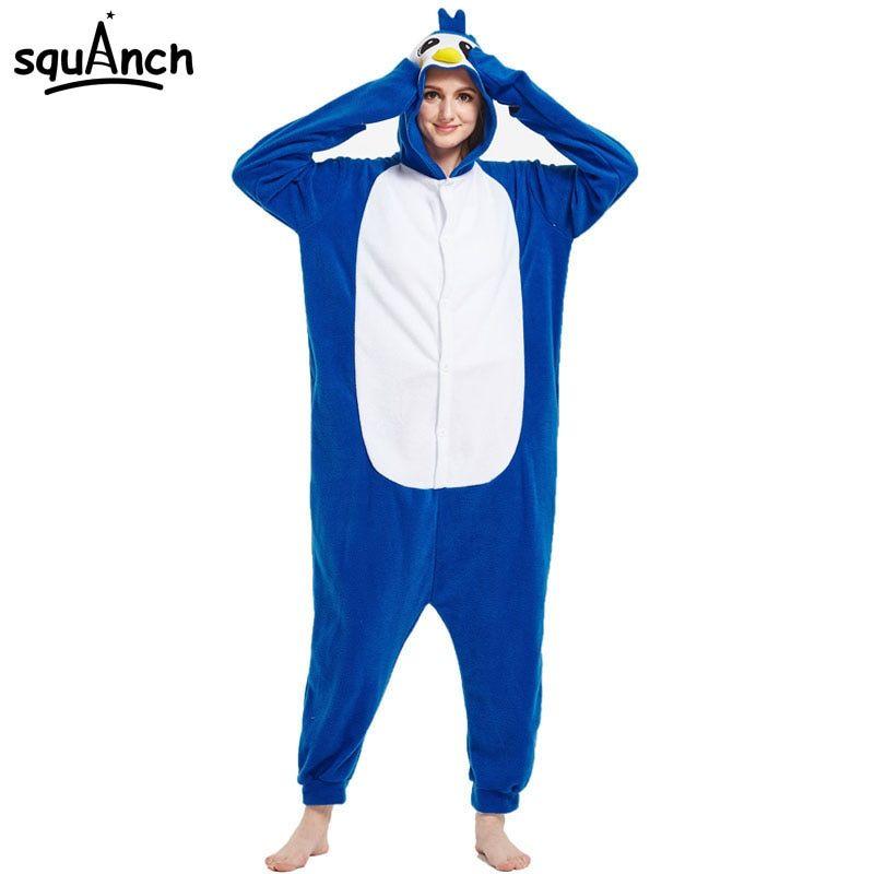 Women esie Penguin Kigurumi Pajama Girl Women Adult Blue Cute Costume Cartoon Overalls Animal Party Jumpsuit