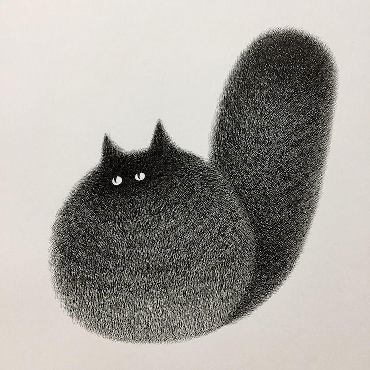 Fluffy Black Cat Ink Drawings by Kamwei Fong