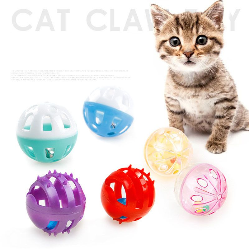 Details about Plastic Puppy Cat Kitty Round Play Ball With Bell Pounce Chase Rattle Funny Toys