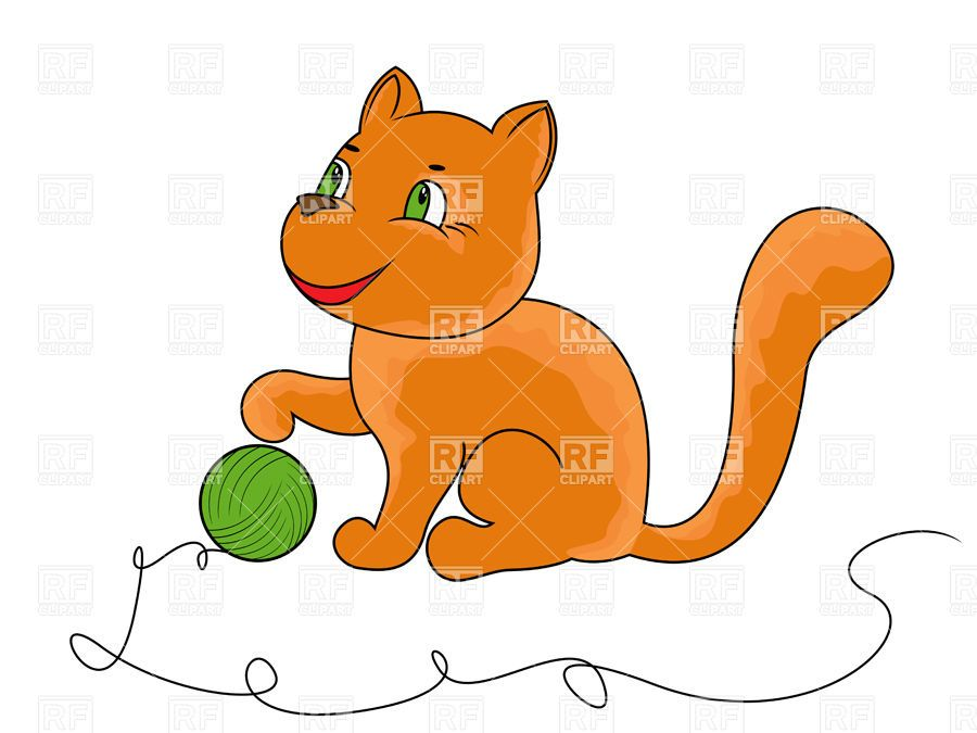 Little funny kitten playing with ball of yarn cartoon cat Vector Image – Vector Illustration to Zoom