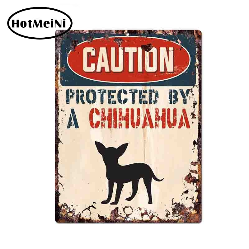 HotMeiNi 13 10cm Caution Protected By Chihuahua Warning Funny Car Sticker Decal Vinyl JDM Car