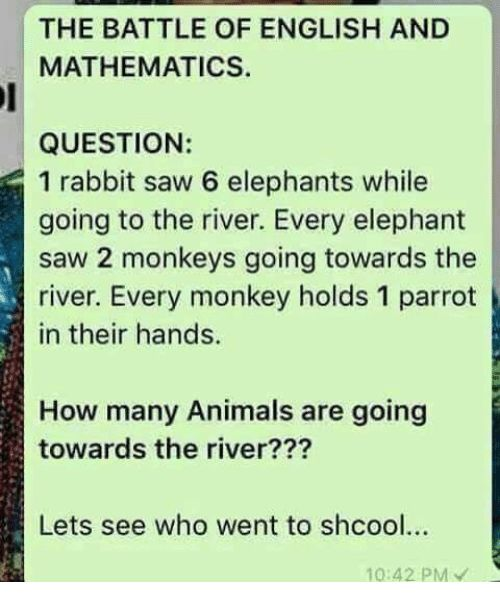 Animals Memes and Saw THE BATTLE OF ENGLISH AND MATHEMATICS QUESTION