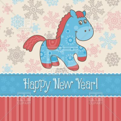 Colorful New Year card with funny horse Vector Image – Vector Illustration of Holiday © bariskina