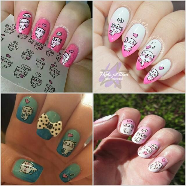 Funny White Cat Printed Nail Art Water Decals Transfer Stickers Health & Beauty Hand & Foot Care on Carousell