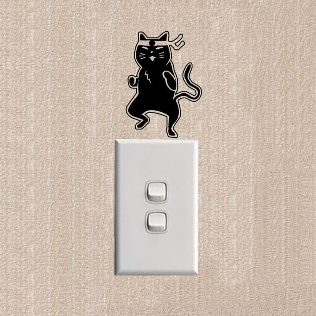 The Karate Cat Funny Switch Stickers Wall Decals Living Room Decorative 2SS0552