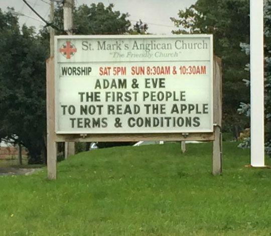 Adam & Eve The First People To Not Read The Apple Terms & Conditions Funny