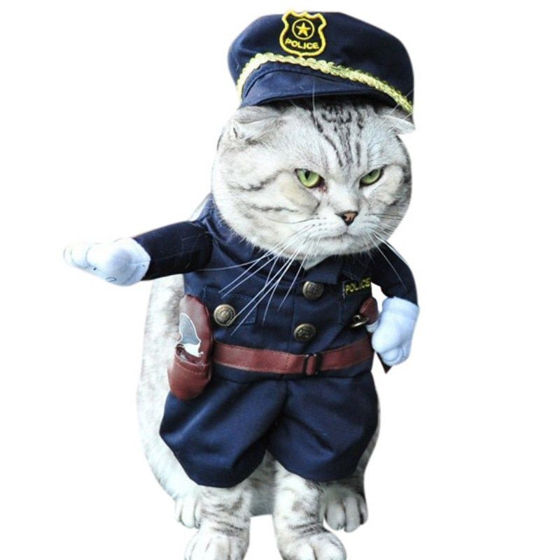 Funny Cat Pet Dog Festival Costume Cosplay Police Uniform Policeman Cotton Jacket and Coat
