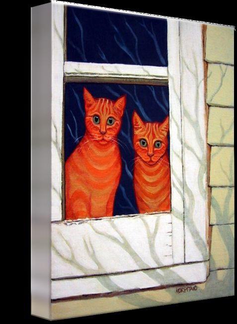 Inside Looking Out Funny Orange Tabby Cat Window art