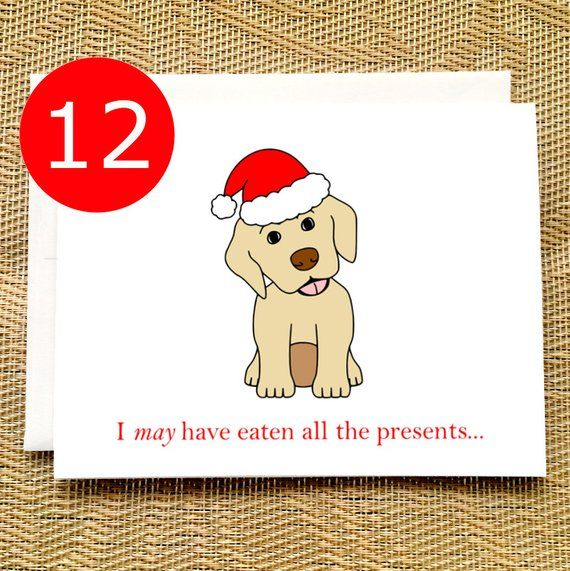 CLEARANCE SALE Funny Christmas Cards Boxed Set Puppy Presents Funny Christmas Greeting Cards Holiday