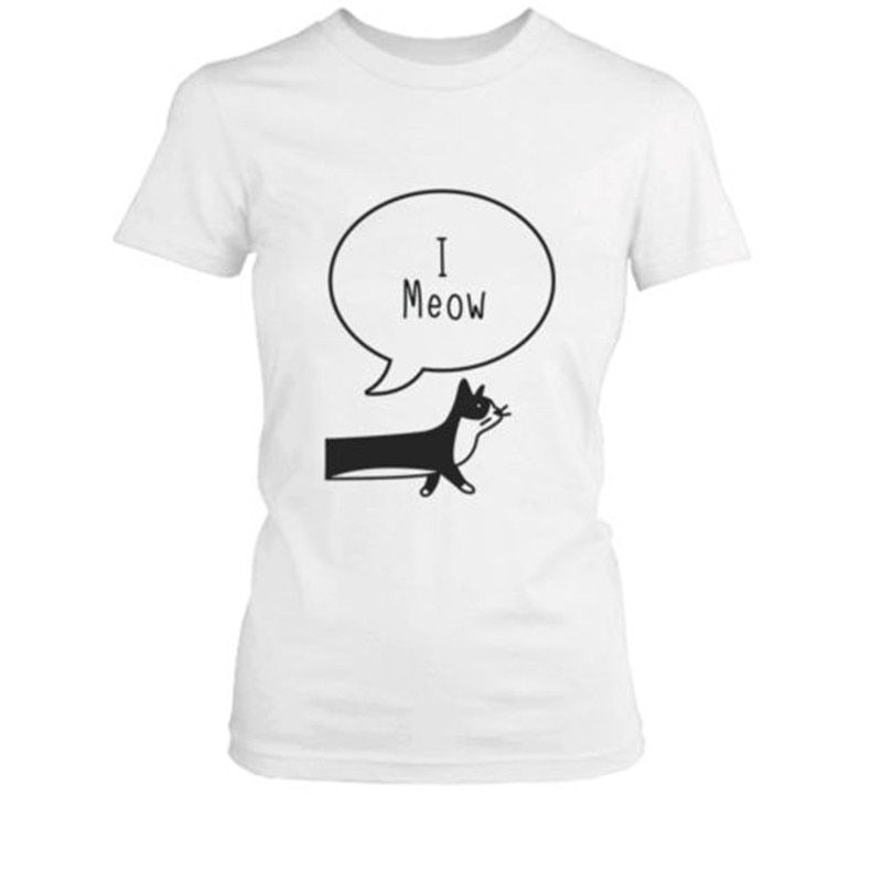 I Ruff You I Meow Funny Cat Dog Pun Matching Couple T Shirts Valentines Day Gift Letter Cut Printed Women Men Tee Tops T F in T Shirts from Women s