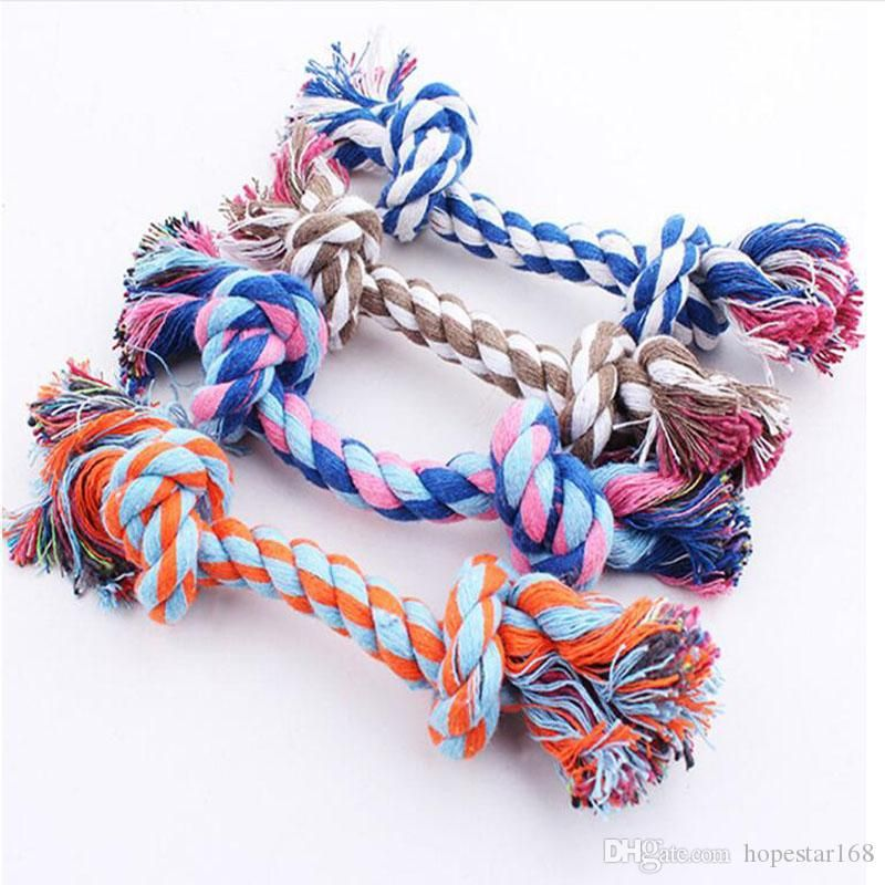 Pets Dogs Pet Supplies Pet Dog Puppy Cotton Chew Knot Toy Durable Braided Bone Rope 17cm Funny Tool From China Dog Toys & Chews Seller China smoke