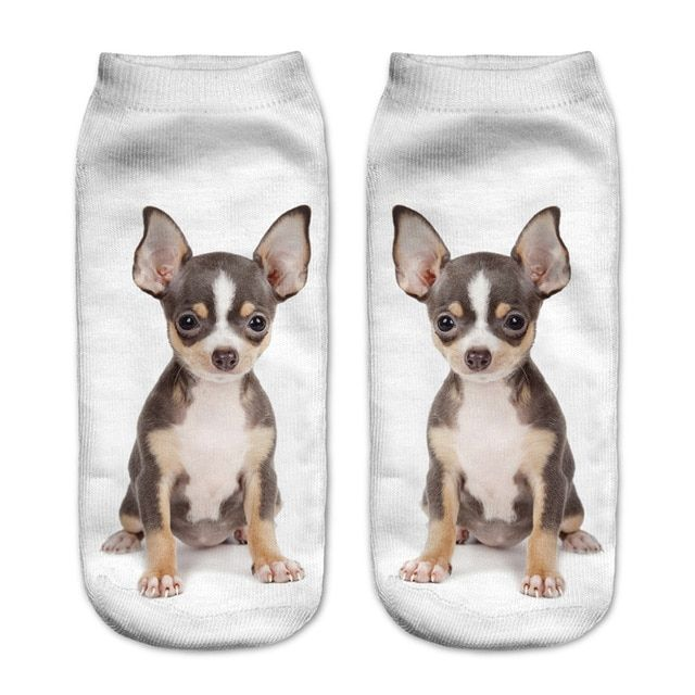 1 Pair Cute Lovely 3D Brown Chihuahua Dog Printed for Kids Children Socks Casual Cartoon Socks Uni Low Cut Ankle Socks