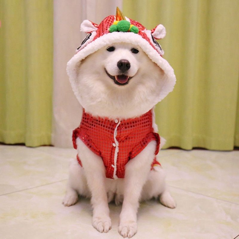 Funny Dog Clothes New Year s Pet Chinese Costume Dragon Dance Lion Dog Clothes Chinese Style New Year Dragon Dance Makeover