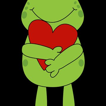 A valentines frog holding a red heart