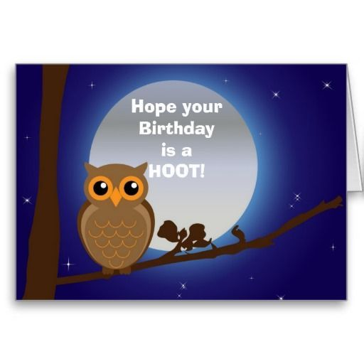 Happy birthday with owl birthday humor cards