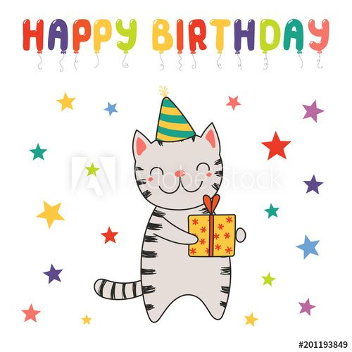 Hand drawn Happy Birthday greeting card with cute funny cartoon cat with a present text Isolated objects on white background Vector illustration