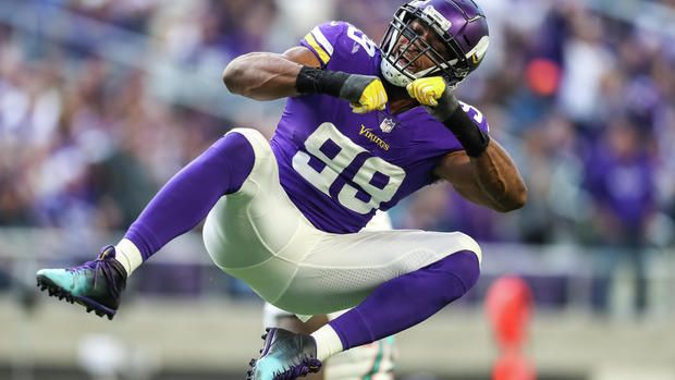 Minnesota Vikings defensive end Danielle Hunter 99 celebrates after making a sack during the