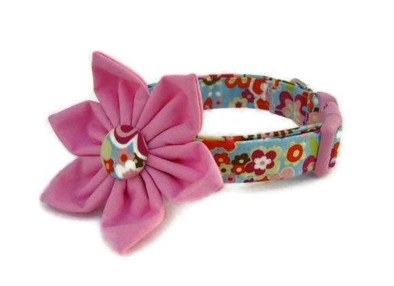 Floral Dog Collar and Flower The Bailey Collar by BigpawCollars $35 00
