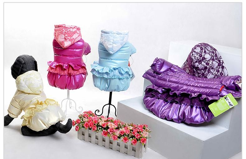Autumn winter 2015 Collection The Dog Down Jacket With Lace Bitch Princess Dress Direct Selling Pet Winter Coat Clothing Pet Supplies Dog Apparel Free