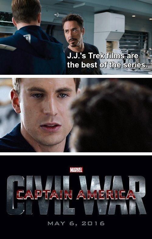 captain america civil war memes iron man tony stark likes j j abrams star trek better quality10