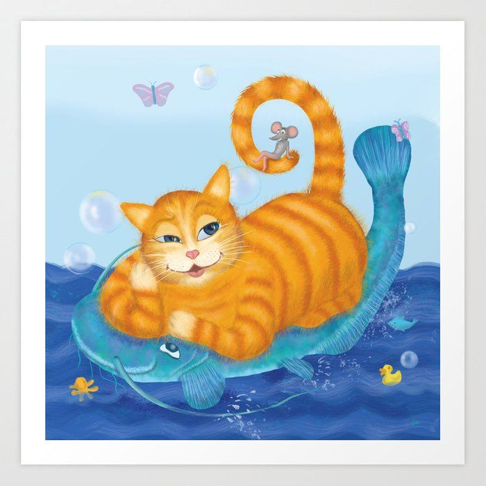 Orange tabby cat & blue catfish Funny kids illustration Art Print