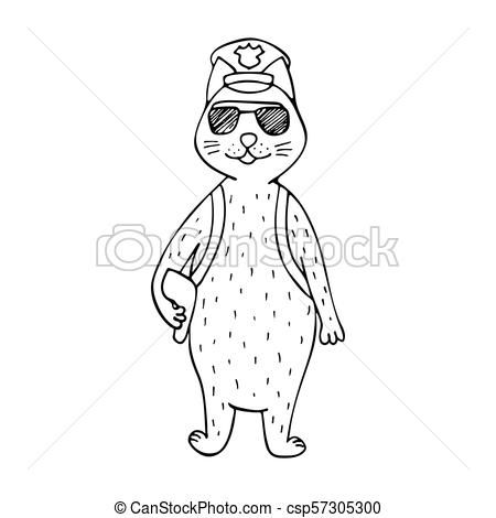 Funny hand drawn cat police officer Black and white line art