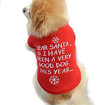 Farjing Clearance Christmas Pet Puppy Clothes,Autumn Winter Warm Pullover High grade Embroidered Clothes