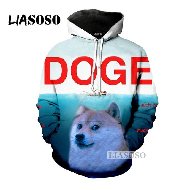 LIASOSO NEW Animals Doge SHIBA Funny MEME Hoo Sweatshirt 3D Printed Dog Nyan Cat Cute Space Galaxy Uni Outerwear Tops G515