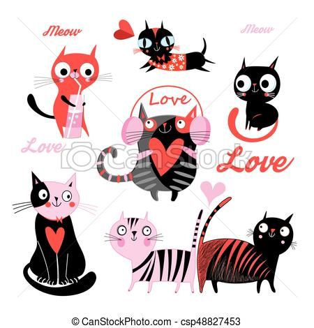 Vector Set Funny Loving Cats