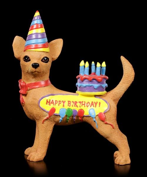 Preview Funny Dog Figurine Happy Birthday Chihuahua