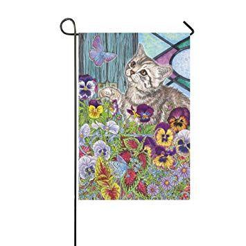 InterestPrint Cute Kitten in Garden Flower Long Polyester Garden Flag Banner 12 x 18 inch