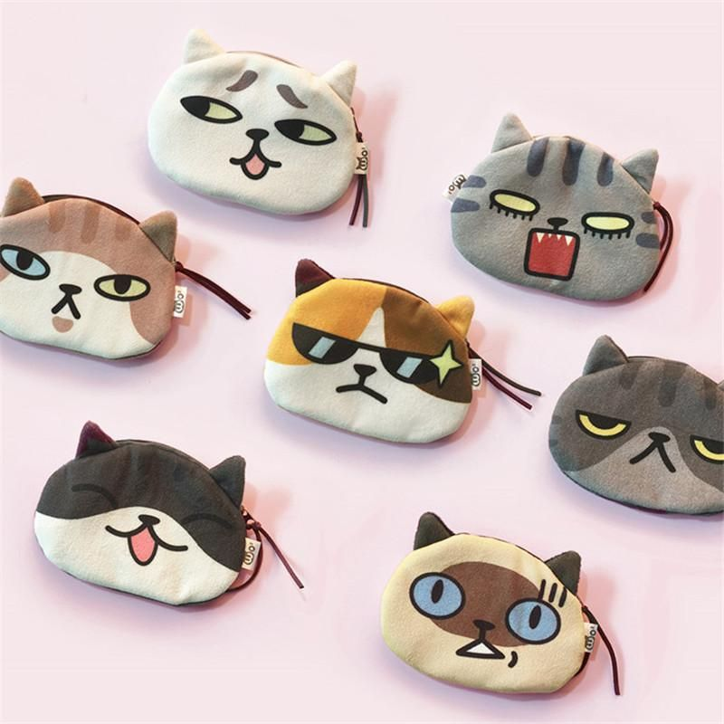 3D Purses Cute Cool Cat Funny Face Coin Wallets Girls Women Animals Face Plush Coin Kids Zipper Pouch Key Holder Rodeo Wallets Wallet Wristlet From Dealbag