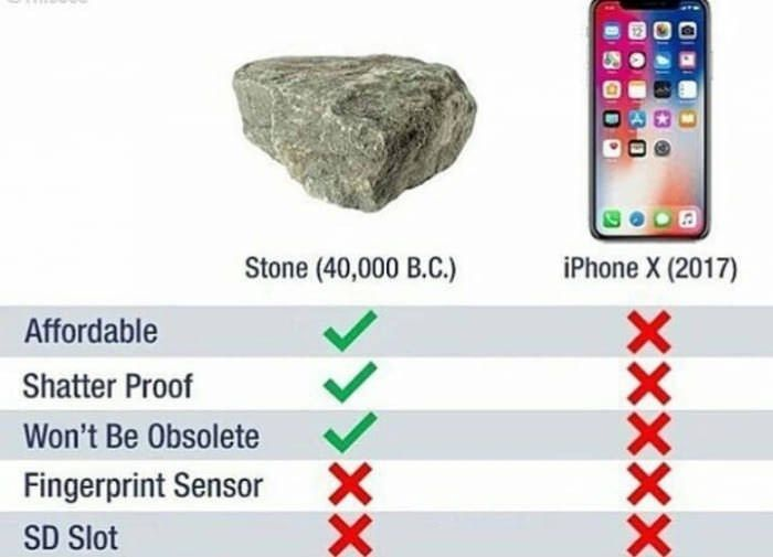 Checklist of a rock versus a smartphone indicating that a rock has more benefits than
