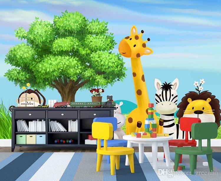 Cartoon 3D wallpaper Forest Zoo Wall Murals Personalized Custom photo wallpaper Kids Bedroom Nursery 3D Room