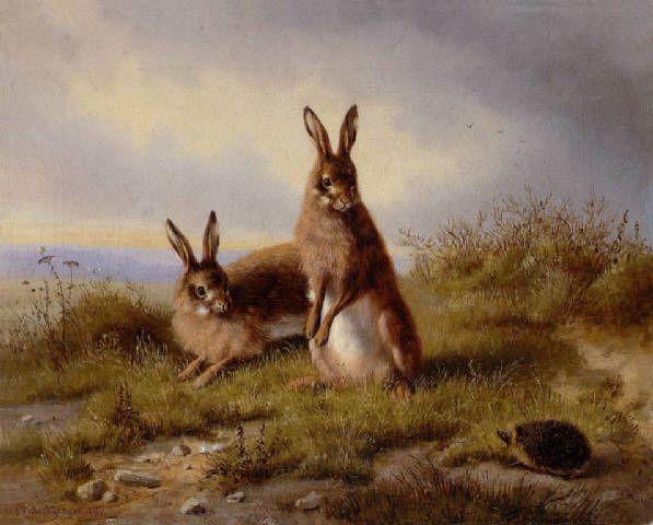 Carl Oswald Rostosky Zwei Kaninchen und ein Igel 1861