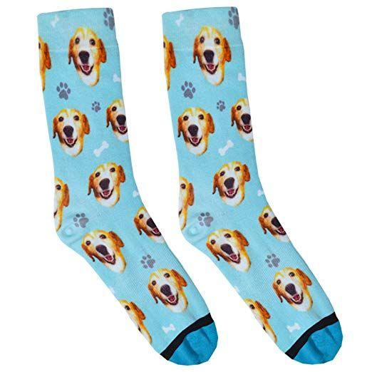 Custom Dog Socks Put Your Dog on Socks Small Blue