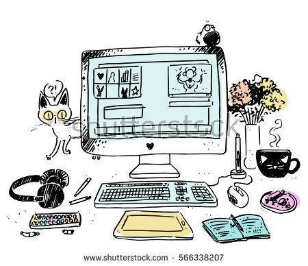 Vector illustration concept of modern home or business workspace for designer or artist with cute cat