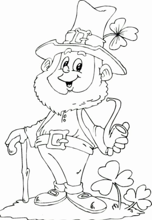 St Patrick Coloring Page Best Saint Patricks Day Leprechaun Holding Pipe Coloring Page for Kids