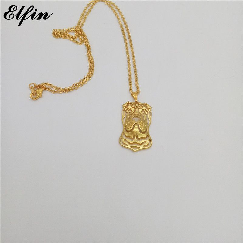 Elfin Wholesale 2017 Trendy Chinese Shar Pei Necklace Gold Color Silver Color Dog Jewellery Pendant Necklace Women steampunk us575