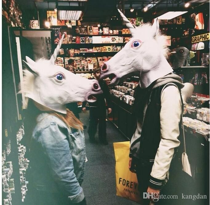 Funny Cosplay Animal Head Mask Halloween Full Face Masks Party Costume Theater Prop Novelty Latex Rubber Horse Head Masks Eye Mask Party Eye Masks From