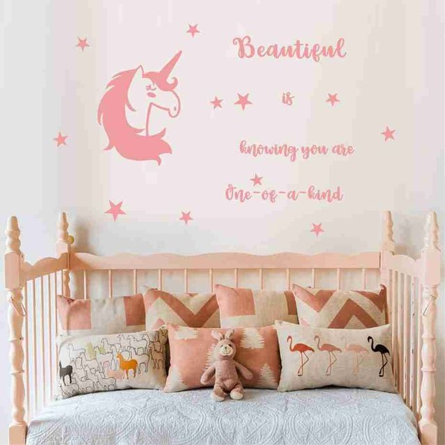 Unicorn stars inspirational quotes Wall Stickers animal horse beautiful is knowing you are one of a kind decals for kids room