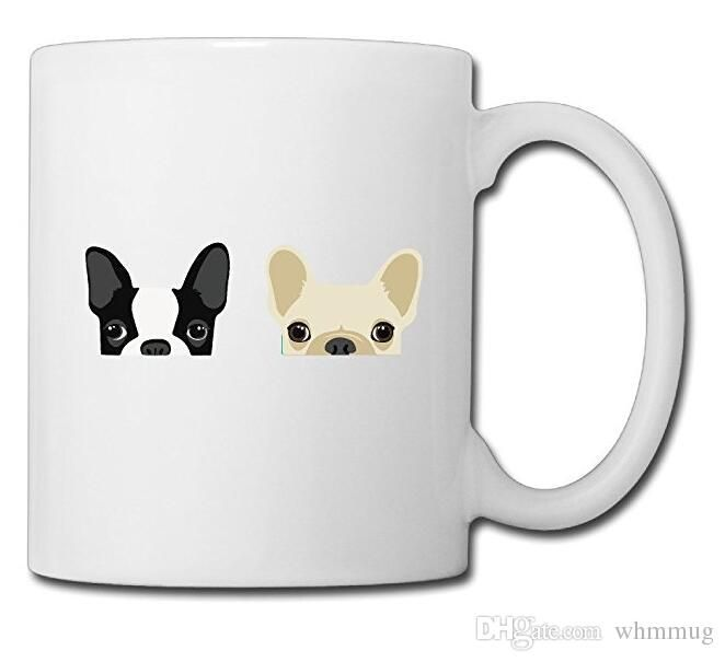 Boston Terrier And French Bulldog Friends Ceramic Custom Coffee Tea Mug White 11oz For Funny Gifts Personalized Mugs Same Day Personalized Coffee Mugs