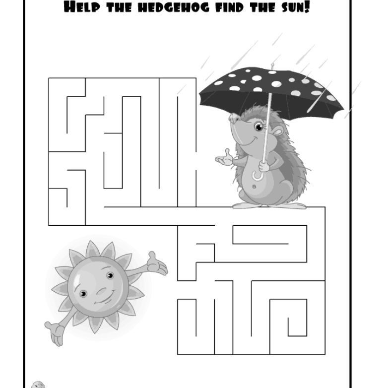 An easy maze where a hedgehog is trying to find the sun