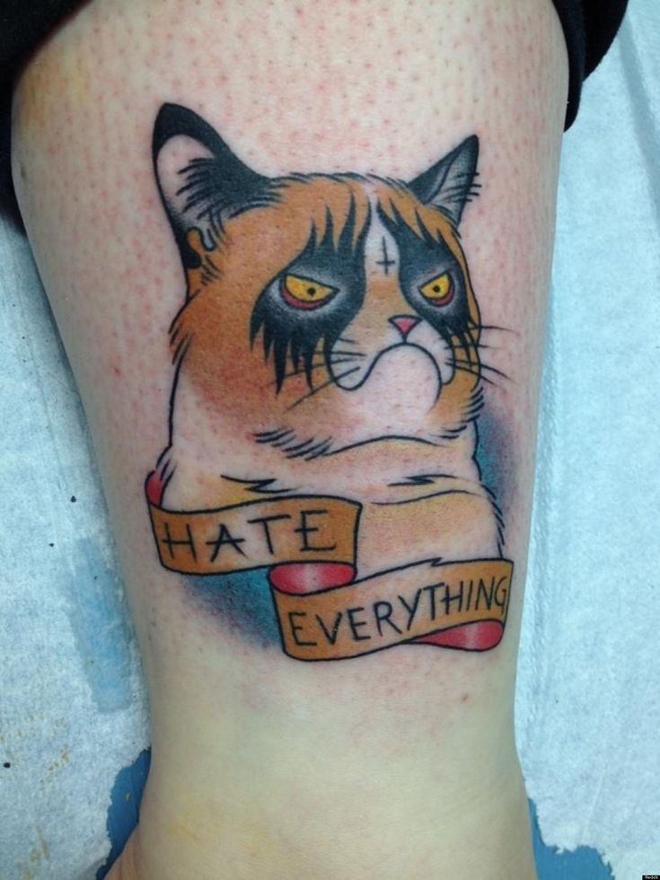 funny nyan cat tattoo on left arm
