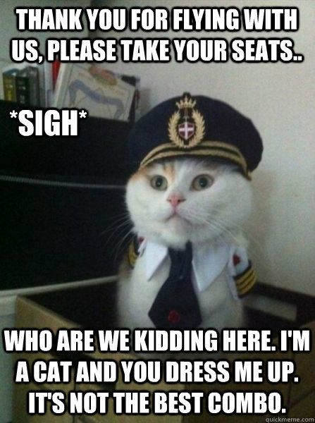 Thank you for flying with us please take your seats Who are we kidding here I m a cat and you dress me up It s not the best bo sigh