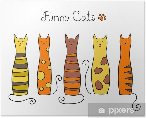 Five funny cats Vector illustration Poster Mammals