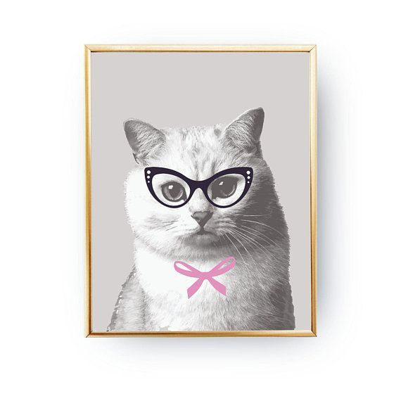 Cat In Glasses Illustration Cat Kids Room Decor Wall Art Wall Decor Nursery Decor Funny Cat Cat Poster Cute Animals Cat Print