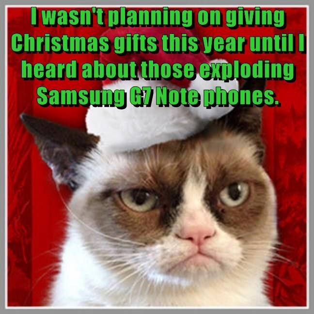christmas Grumpy Cat ts phone caption Samsung giving