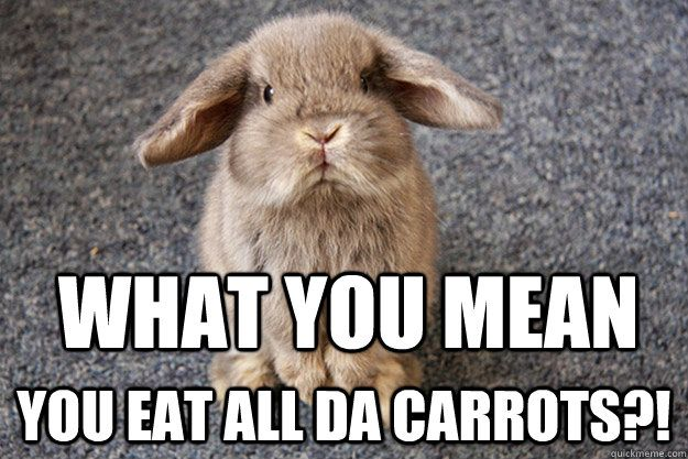 What you mean You eat all da carrots